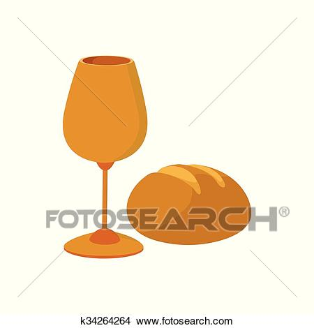 Chalice with wine, piece of bread cartoon icon Clipart.