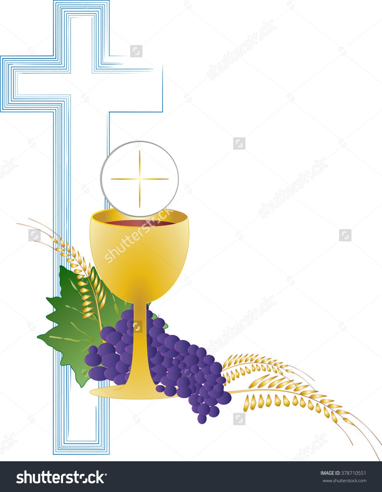 Eucharist Symbol Of Bread And Wine, Chalice And Host, With Wheat.