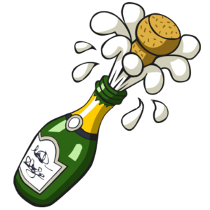 Ist Popping Champagne Bottle.
