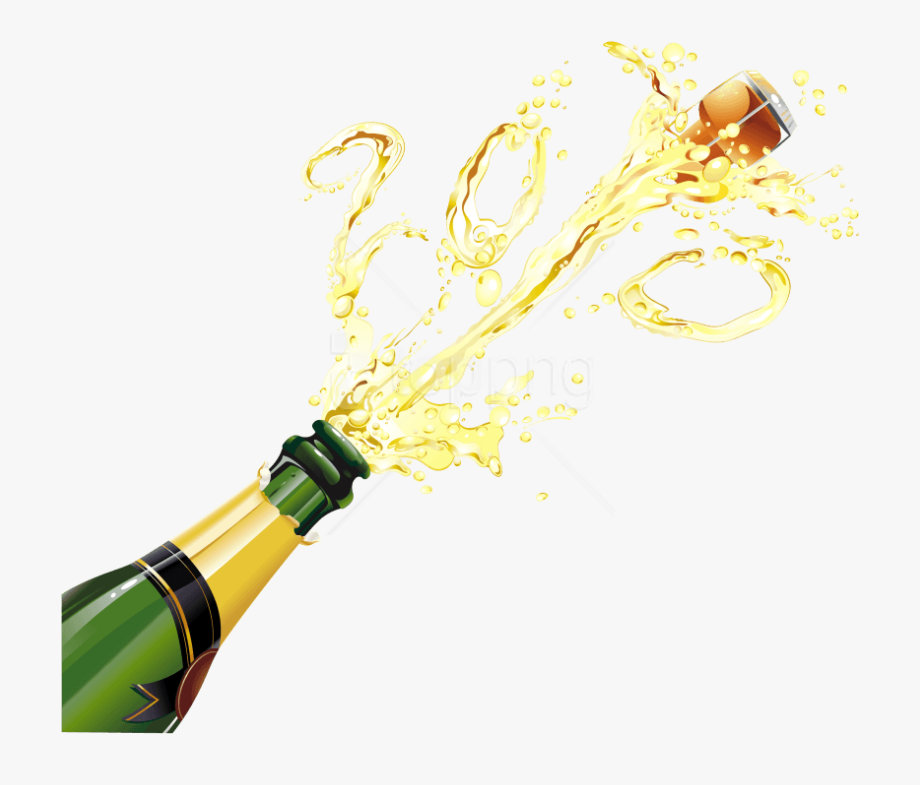 Champagne Bottle Popping Png.