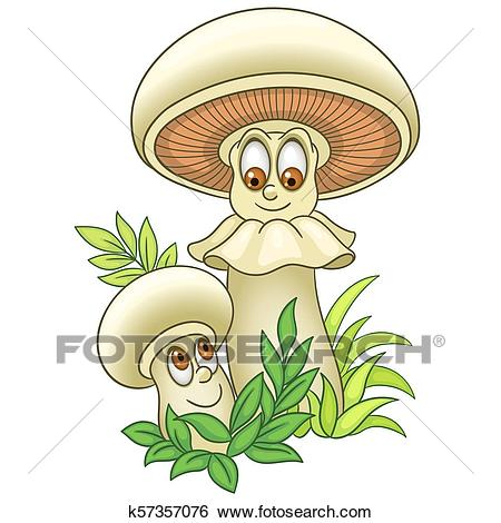 Cartoon Champignon Mushrooms Clip Art.