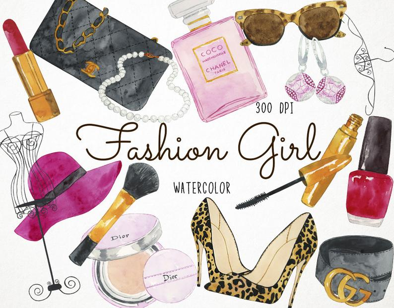 Fashion Clipart, Chanel Clipart, Make Up Clipart, Watercolor Clipart,  Beauty Clipart, Watercolor Fashion Clipart Girly Clipart Girls Clipart.