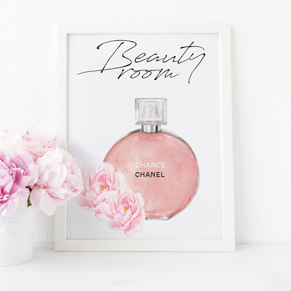 Beauty Room Chanel Perfume Printable, Fashion Wall Art.