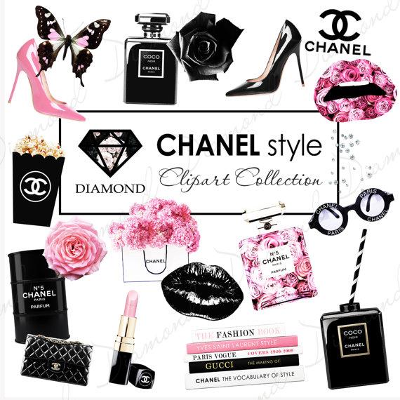 Coco Chanel Clipart Fashion girl clipart by DiamondDigitalPapers.