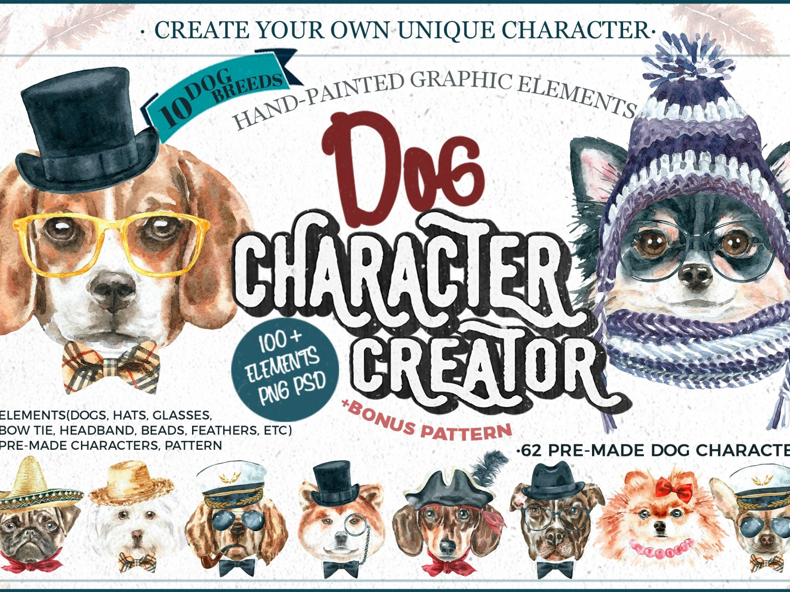 Dog Character Creator Watercolor Dog Breed Clipart. by.