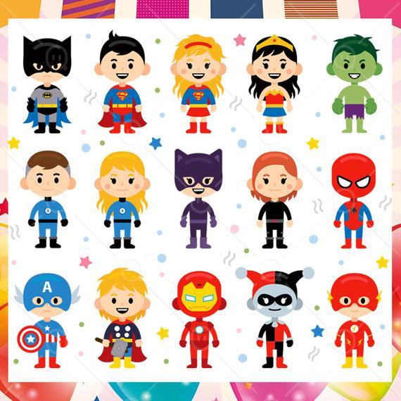 15 Superhero Children clipart, Carnival Characters clipart, Cartoon  children superhero clipart.