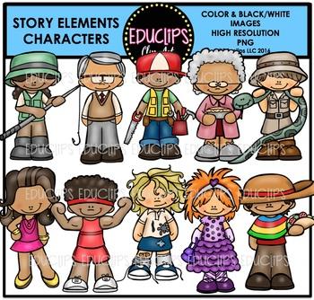Story Elements Characters Clip Art Bundle {Educlips Clipart}.