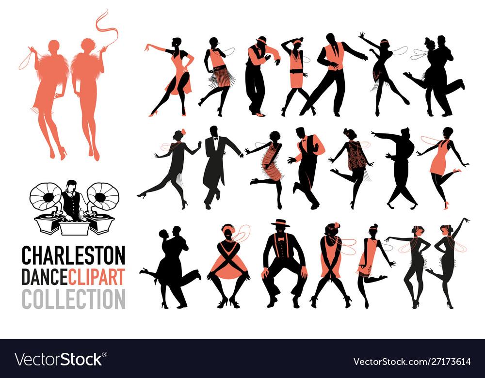Charleston dance clipart collection set jazz.