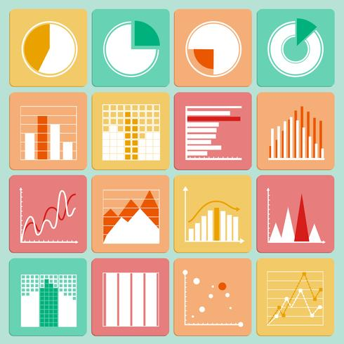 Icons set of business presentation charts and graphs.