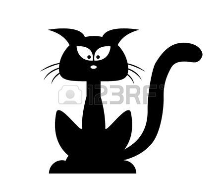 chat dessin: Halloween chat noir silhouette vecteur. Cartoon.