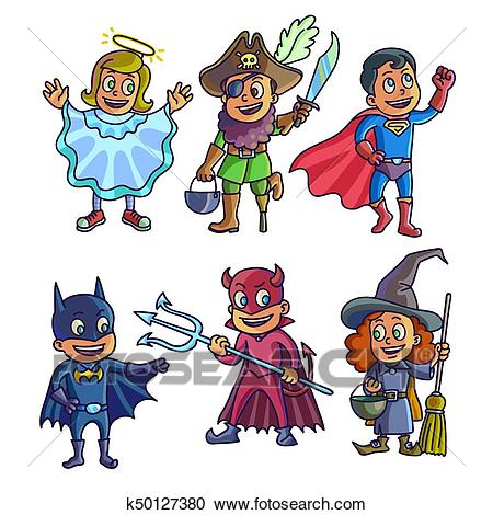 Cheerful children in creative halloween costumes illustrations set Clipart.