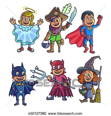 Cheerful children in creative halloween costumes illustrations set Clipart.