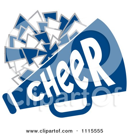 Clipart Blue Cheerleader Text With A Pom Pom And Megaphone.