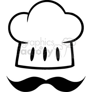 Chef Hat With A Mustache Logo clipart. Royalty.