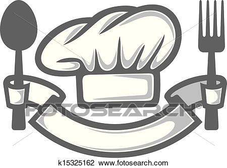 Chef hat, fork and spoon Clipart.