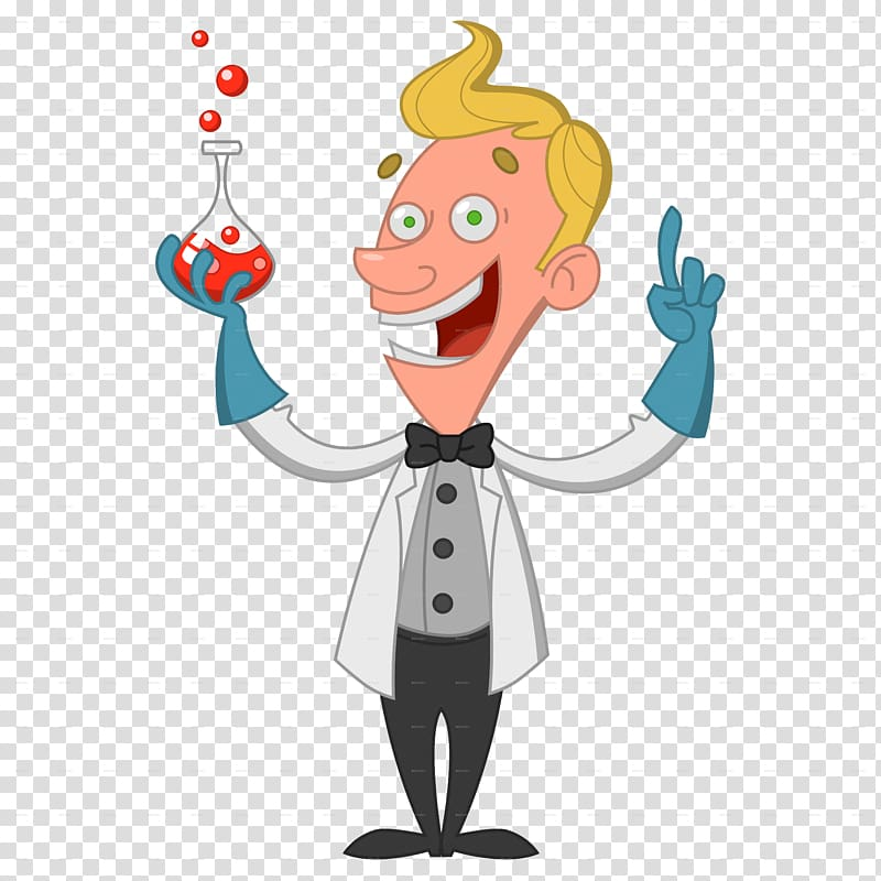 Male scientist illustration, Cartoon Scientist Chemist.