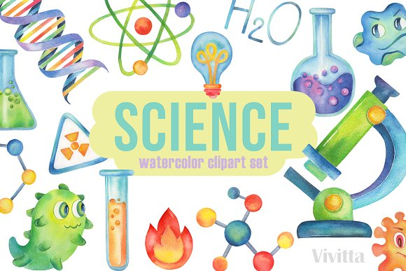 Science watercolor clipart,Chemistry.