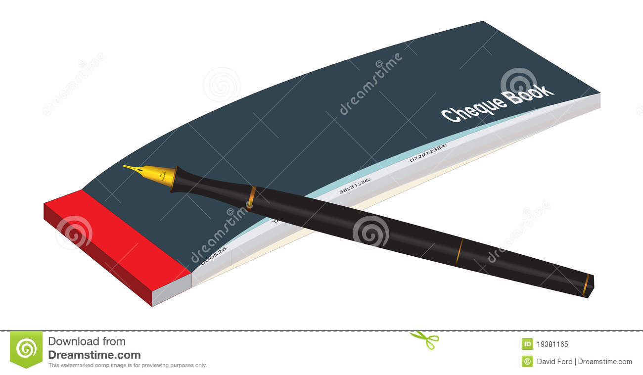 Cheque Book And Pen Stock Photo.