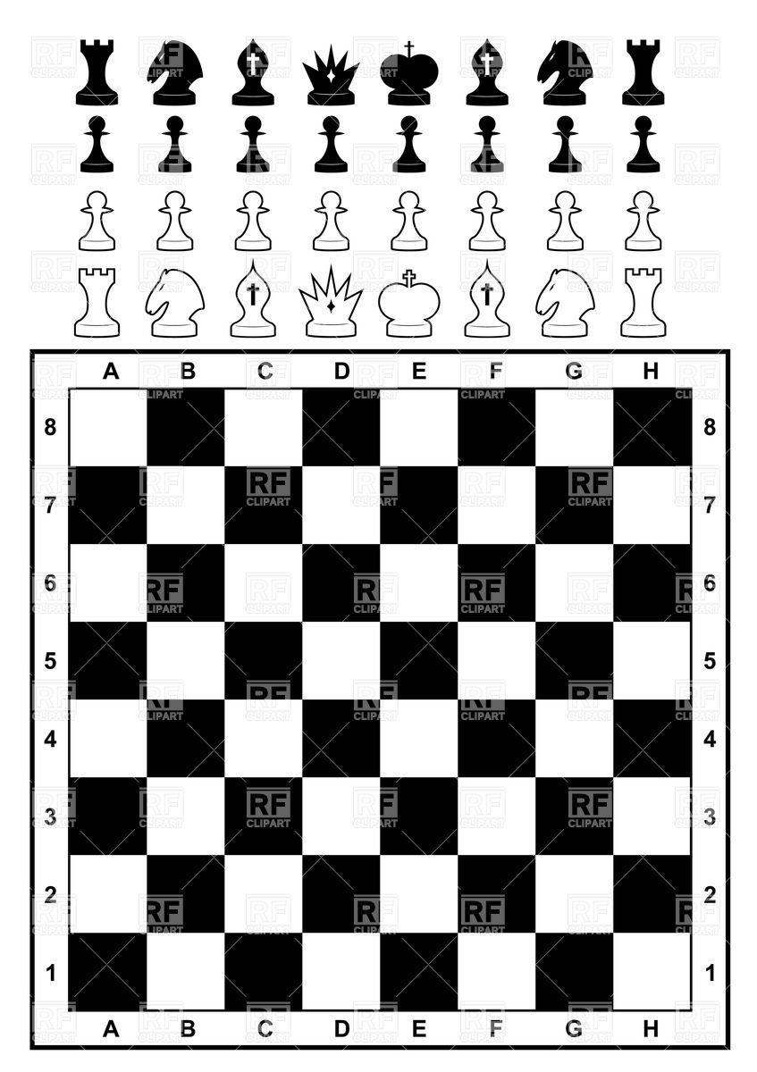 Chessboard with set of chess Stock Vector Image.