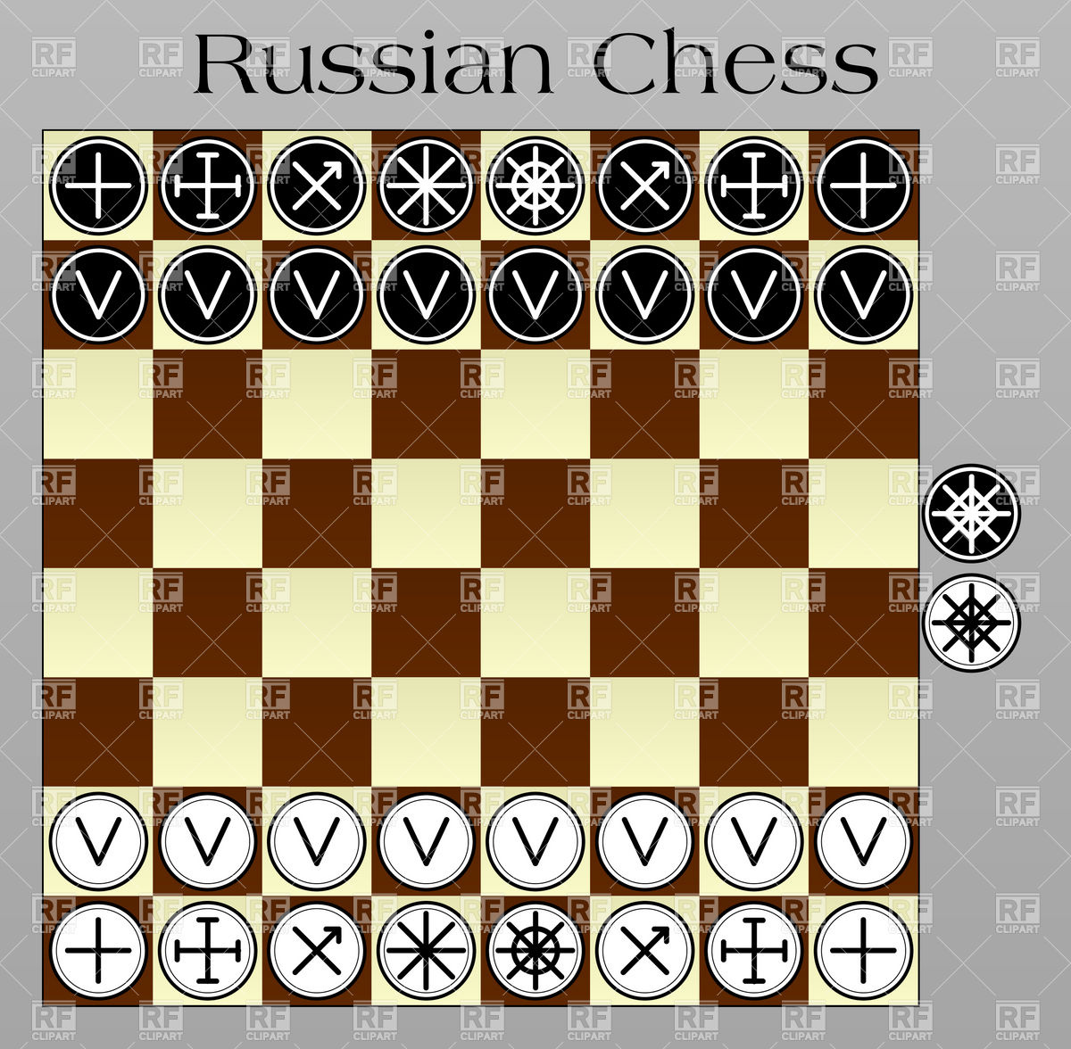 Russian chess layout on the chessboard Stock Vector Image.