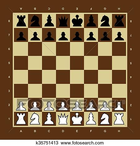 Brown and yellow vector chess board Clipart.