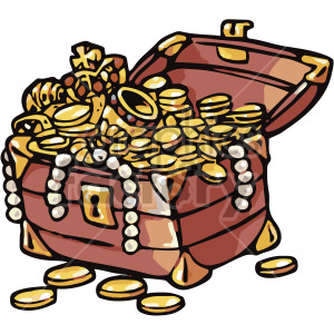 cartoon treasure chest clipart. Royalty.