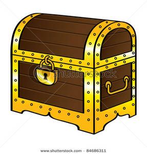Clip Art Image: Trunk Chest Gold Treasure Wood Old Vintage.