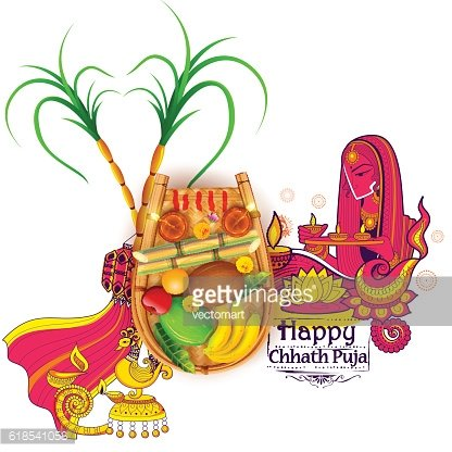 Happy Chhath Puja Holiday background for Sun festival of.