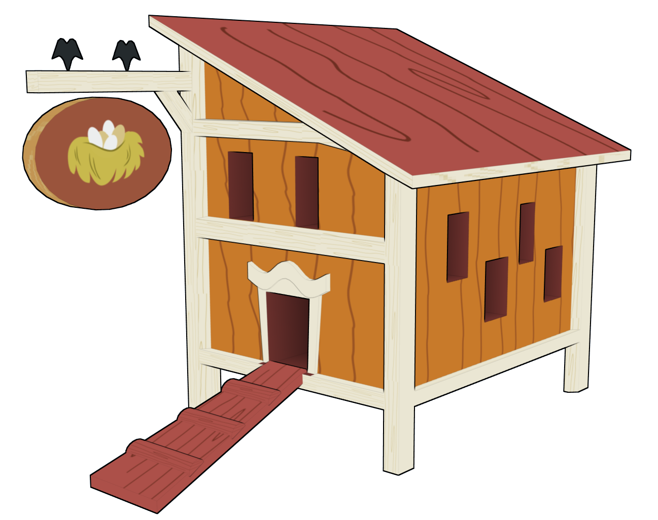 CHICKEN COOP CLIP ART.