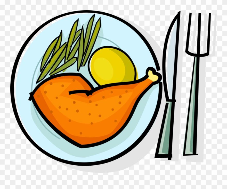 Vector Illustration Of Roast Chicken Leg With Potato.