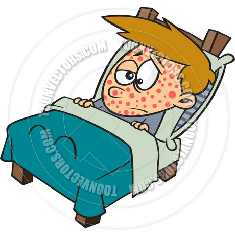 Cartoon Boy Sick with Chickenpox by Ron Leishman.