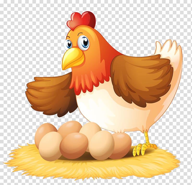 Brown hen and seven eggs, Chicken Egg , Hen transparent.