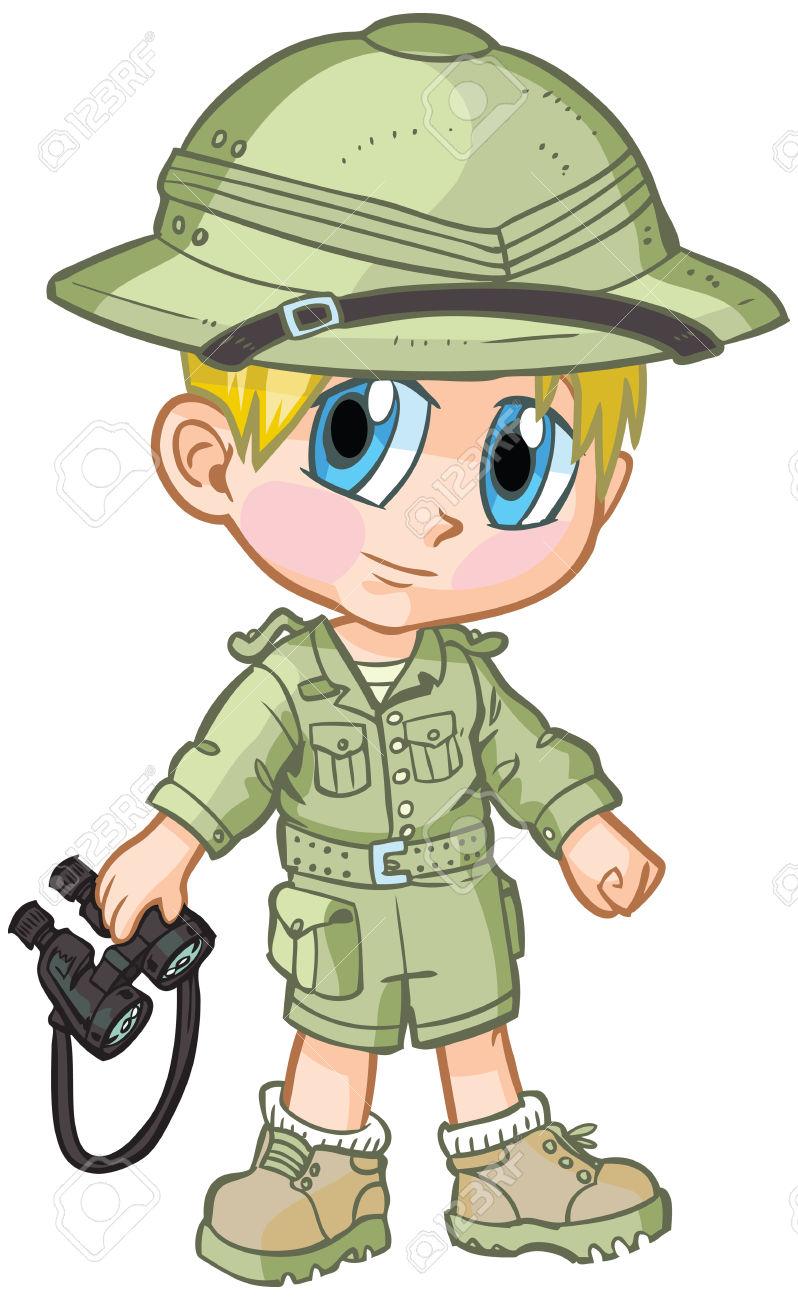 Vector Cartoon Clip Art Of A Caucasian Boy Wearing A Safari Outfit.