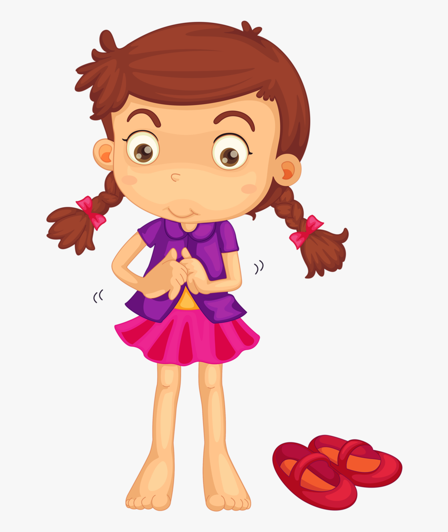 Cartoon Girl Getting Dressed , Free Transparent Clipart.