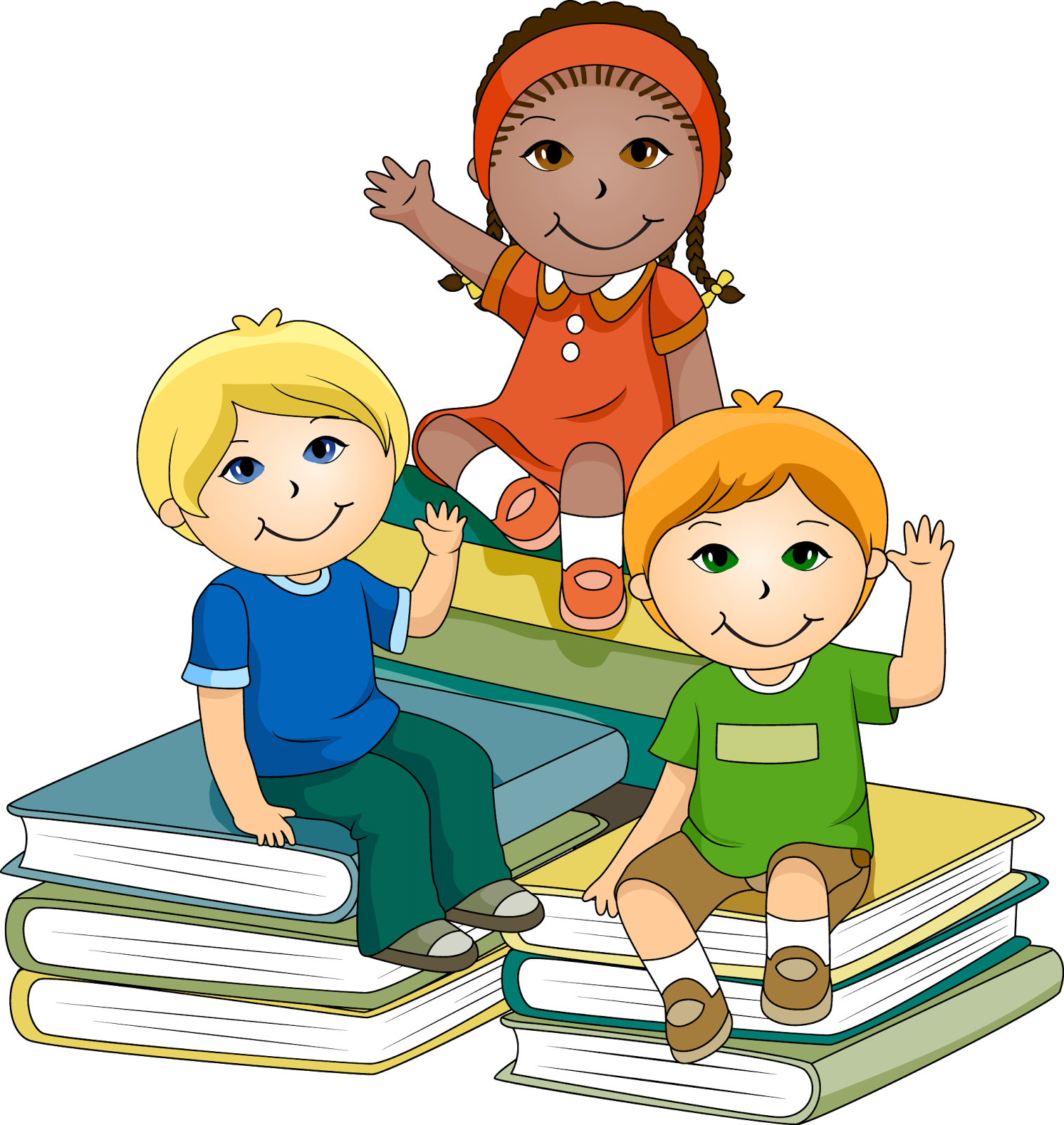 Children Reading Book Clipart.