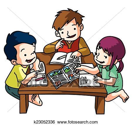 Kids Studying Together Clip Art.