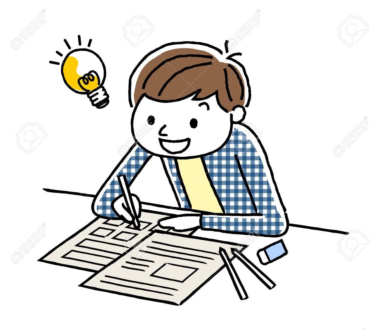 A boy studying.