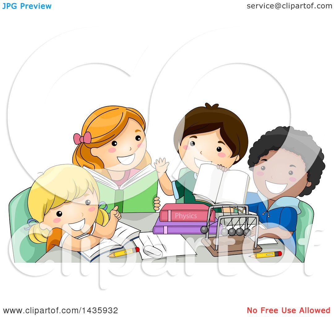 Clipart of School Children Studying Physics.