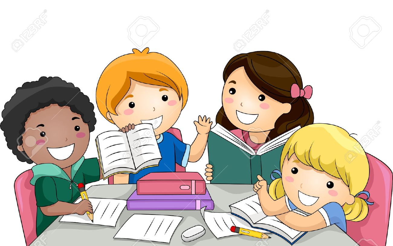 Illustration Featuring a Group of Kids Studying Together.