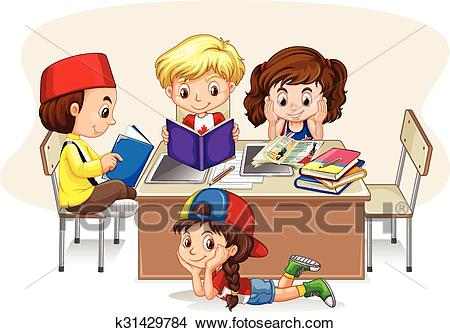 Children studying in the classroom Clipart.