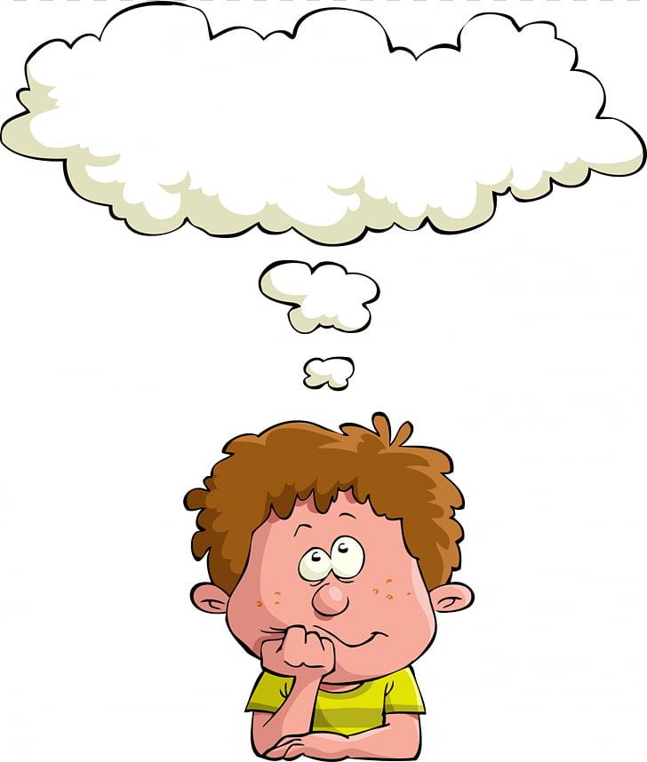 Dream Child , thinking man, thinking boy illustration PNG.