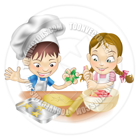 Children Cooking in the Kitchen by GeoImages.