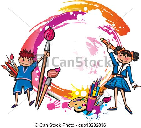 Vectors of Colorful banner with children drawing csp13232836.