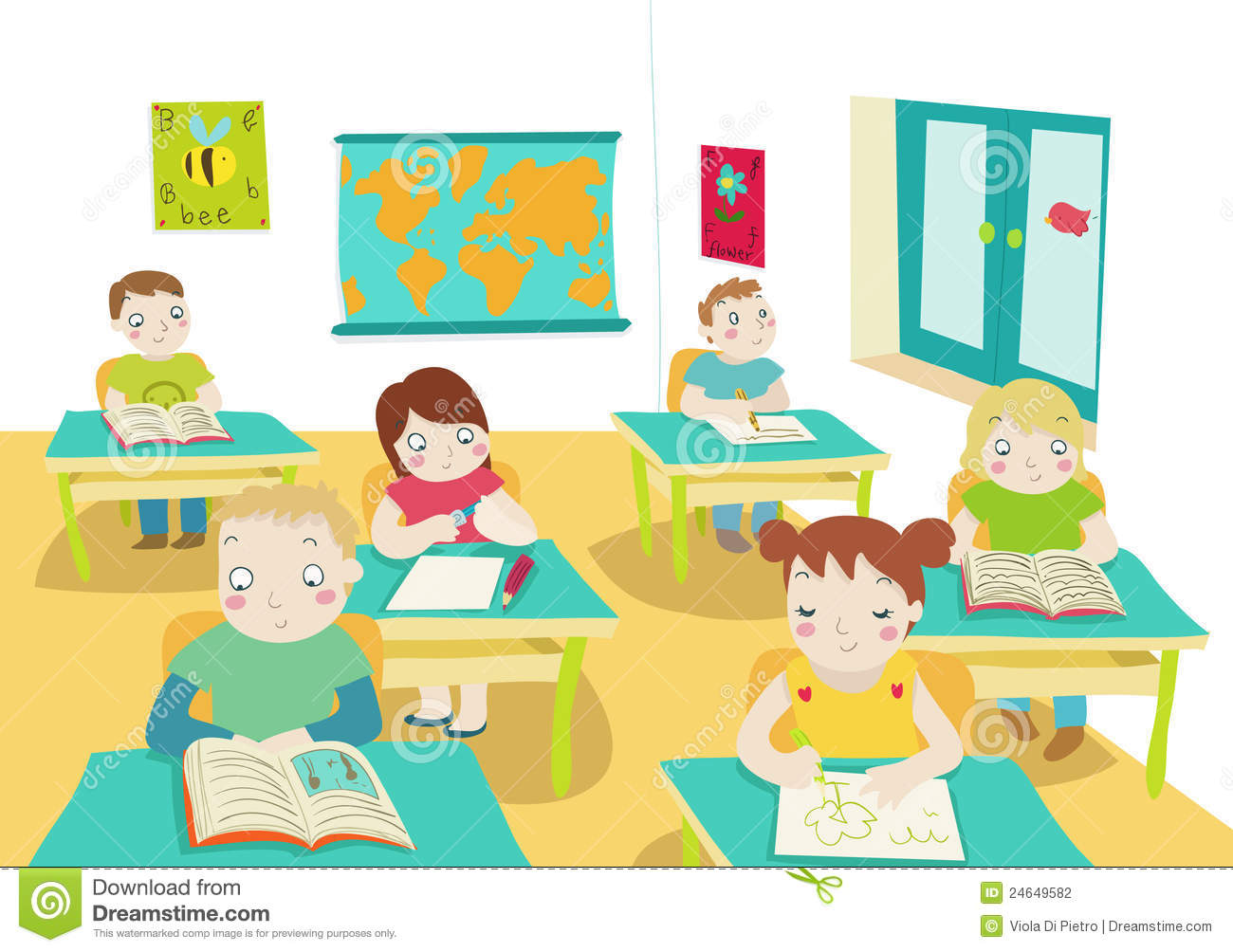 Children In Classroom Illustration Stock Photography.