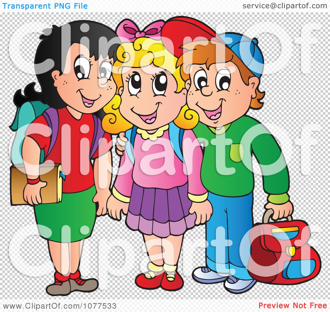 Clipart Three School Children Smiling.