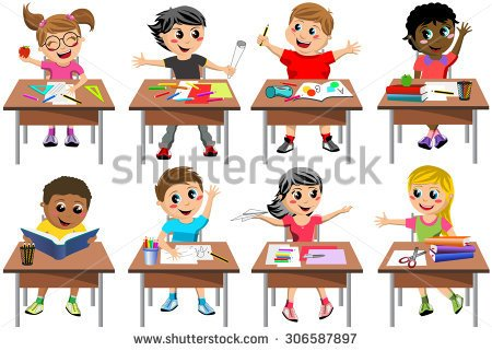 School Desks For Kids Clipart.