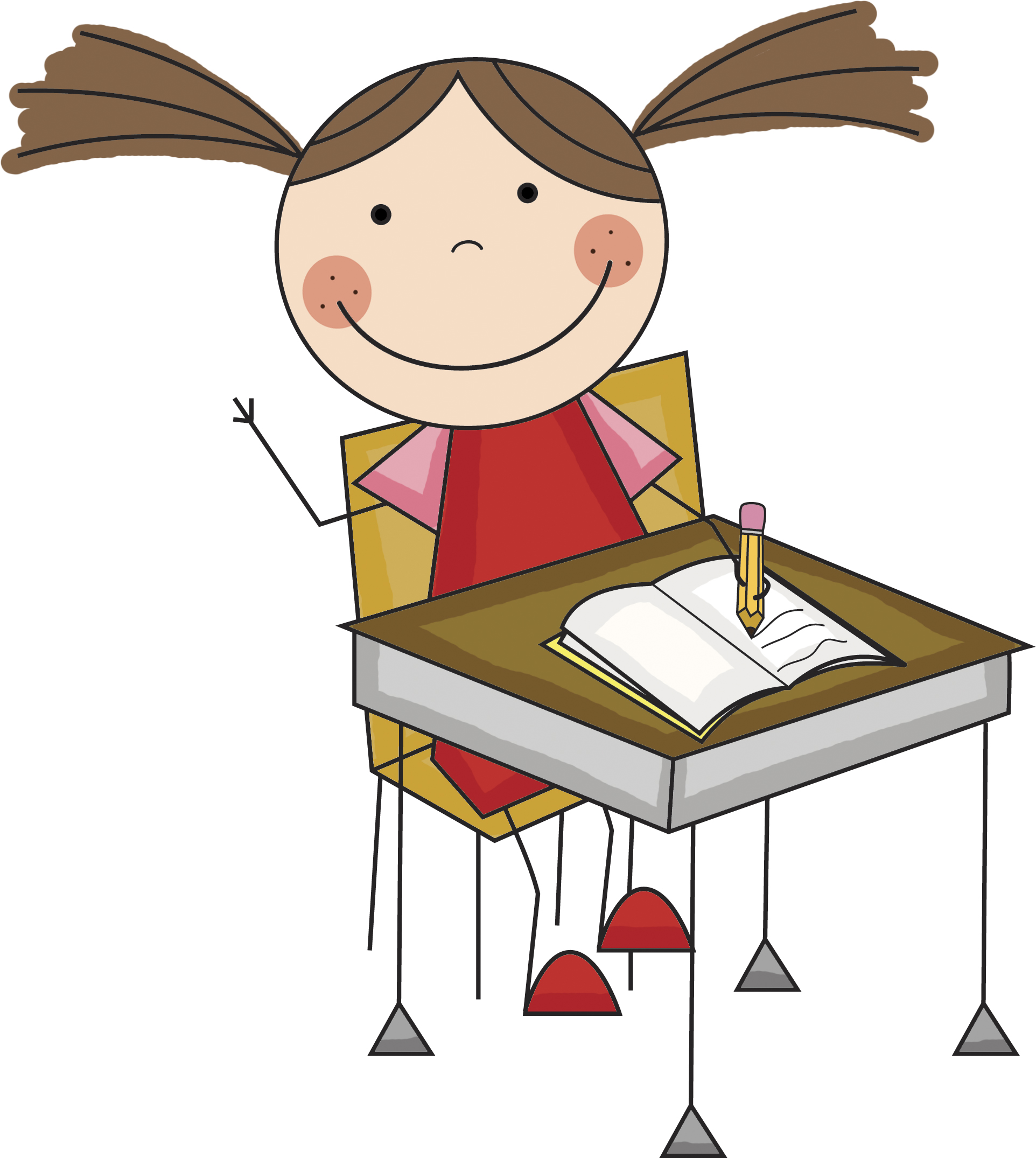 Children At Desks Clipart.