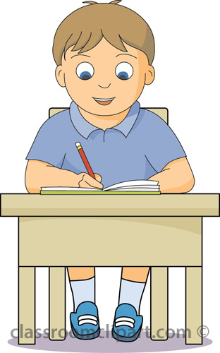 Kid At School Desk Clipart.