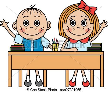 Clipart Children In School Desks.