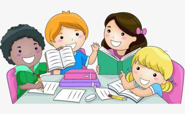 The Children Do Homework Together, Children Clipart.